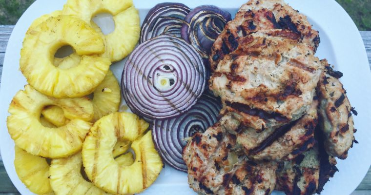 Teriyaki Turkey Burgers with Grilled Pineapple & Onions
