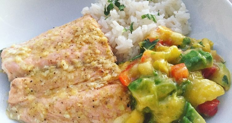 Grilled Ginger Lime Salmon with Avocado Mango Salsa and Coconut Rice