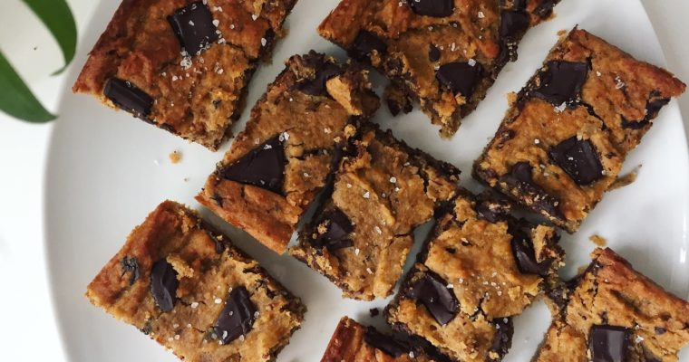 Chickpea Blondies: Nut Butter Chocolate Chip